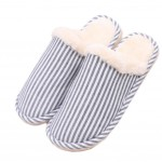 Slippers Thicken Velvet Mules Family Non-slip Cotton Warm Slippers-Blue