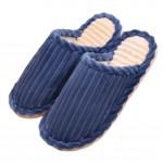 Slippers Wave Velvet Mules Family Non-slip Cotton Warm Slippers-Navy Blue