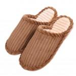 Slippers Wave Velvet Mules Family Non-slip Cotton Warm Slippers-Coffee