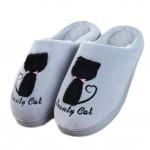 Slippers Cute Cat Velvet Mules Non-slip Cotton Warm Slippers-Silver Gray