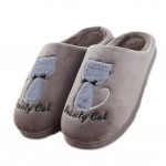 Slippers Cute Cat Velvet Mules Non-slip Cotton Warm Slippers-Coffee