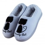 Slippers Cute Cat Velvet Mules Non-slip Cotton Warm Slippers Shoes-Silver Gray