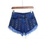 Fashion Metal Hoops Design Hot Pants High Waist Denim Shorts Jeans, B