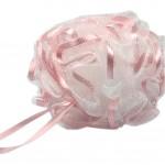 Body Scrubber Bath Ball Exfoliating Bath Soft Ribbon Mesh Bathing Sponge(Pink)