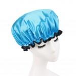 Stylish Design Waterproof Double Layer Shower Cap Spa Bathing Caps, Blue