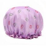 Stylish Design Waterproof Double Layer Shower Cap Spa Bathing Caps, Purple
