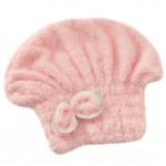 Microfiber Bath Towel Hair Dry Hat Quick Drying Bath Cap For Long Hair(Pink)
