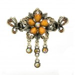 Retro Luxury Aulic Style Crystal Bronze Alloy Hair Claws, Flowers(Coffee)