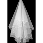 Charming Blessing Single-layer Beads Wave Edge Bridal Wedding Veil, White/1.5M