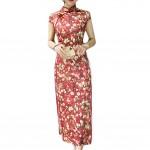 Red Dress Bodycon Long Dress Mandarin Collar Cheongsam Chinese Traditional Dress