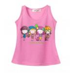 Soft Cotton Girls Tank Pink Printed Tank