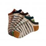 Men's Loop Pile Fabric Boat Socks Low Cut No Show Socks 5 pairs (C)