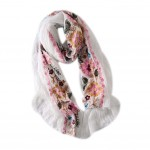 Fashion Shawl for Lady/Lightweight Soft Scarf/Embroidery Scarf,Floral, WHITE