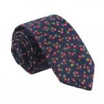 Men Cotton Neckties Dark Blue Floral Skinny Necktie Formal/Casual Neckties 6cm