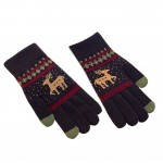Winter Student Wool Gloves/Lovely Knitted Mittens/Telefingers Gloves/Navy Blue
