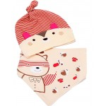 New Born Baby Cotton Red Striped Cap & Bib