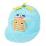 Baby Boys Straw Hat Blue Robot Baseball Cap 3-6 Months