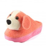 Winter Women Cute Cartoon Doggie Warm Home Cotton Slippers Without Heels, Orange