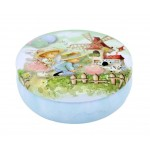 Round Cute Pill Boxes Candy Metal Case Storage Box, Blue Bear