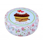 Round Cute Pill Boxes Candy Metal Case Storage Box, Cake