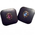 Retro Synthetic Diamond Pattern Contact Lenses Case Nursing Holder, Random Color