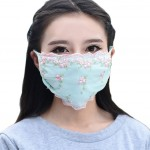 Summer Thin UV Protection Dust Proof Cotton Sanitary Mask, Green Lace Flowers