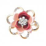 Fashion Diamond Flower Party Brooch Pin Suit Accessories RED