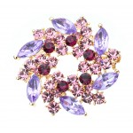 Women Gifts Fashion Crystal Party Brooch Pin Designer Jewelry PURPLE