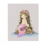 PANDA SUPERSTORE [Cute Mermaid] DIY Cross-Stitch 14CT Embroidery Kits Kids Room Decors(8.6*8.6'')