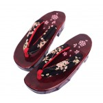 Non-slip High-heeled Wooden Slippers Fashion Clogs( Black Cherry )