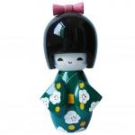 [Wintersweet]Japanese Kimono Doll Toy Japanese Girl Puppet, Green