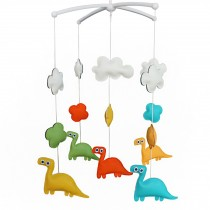 Colorful PU Leather Dinosaur Dolls Handmade Cute Baby Crib Rotatable Bed Bell