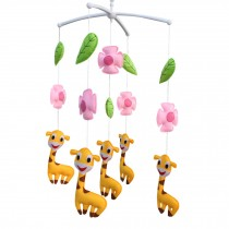 [Pink Flowers and Happy Giraffe] Pretty Decor Handmade Toy, Musical Mobile