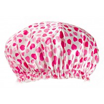 Poly&EVA Waterproof Multifunctional Double layer Shower Cap, Cute Heart
