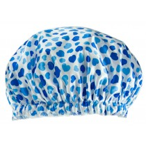 Poly&EVA Waterproof Multifunctional Double layer Shower Cap, Blue Heart