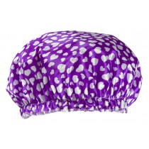 Poly&EVA Waterproof Multifunctional Double layer Shower Cap, Lovely Heart