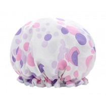 Poly&EVA Waterproof Multifunctional Double layer Shower Cap, Purple Round