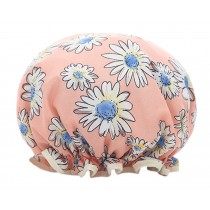 Poly&EVA Waterproof Multifunctional Double layer Shower Cap, Pink Flower