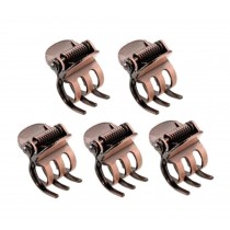 Set of 5 Retro Style Mini Claw Clips Hair Claw Hair Clips Red Copper