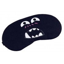 Cute Face Eye Cover Cloth Travel Sleep Goggles Siesta Eye Mask Black