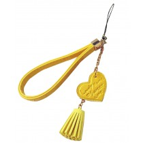 Phone Strape Love Tassel PU Leather Camera Hand Rope Yellow