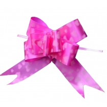 Gift Wrap Party Decoration Pull String Bows/Ribbons, 60PCS [Heart, Rose-carmine]