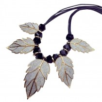 [Leaf Gold] Stylish Costume Necklace Sweater Necklace Costume Jewelry