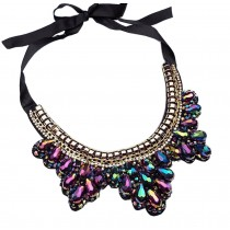 [Leaf Colorful] Fashion Costume Necklace Sweater Necklace Costume Jewelry