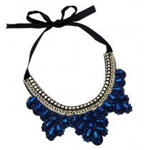 [Leaf Blue] Fashion Costume Necklace Sweater Necklace Costume Jewelry