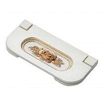 Set of 2 Cabinet Handles Drawer Pulls Metal Stealth Handles White