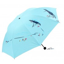 Cute Portable Umbrella [Blue] Foldable Anti-UV Parasol Sun/Rain Umbrella