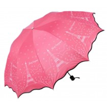 Foldable Anti-UV Parasol Folding Sun/Rain Umbrella [Eiffel Tower, Red]