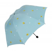 Fashion Creative Folding Vinyl Anti-UV Sun/Rain Umbrella Blue