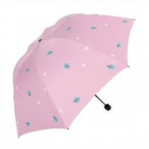 Fashion Creative Folding Vinyl Anti-UV Sun/Rain Umbrella Pink